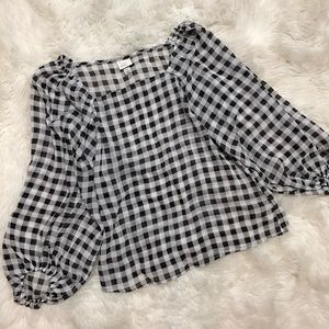 A New Day Buffalo Plaid Sheer Loose Fit Blouse